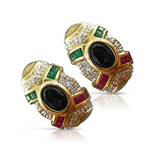 LARGE 2.64CT DIAMOND & MULTI-GEM 14KT TWO TONE CLIP ON EARRINGS #21745 14kt 2 Tone Diamond Earrings