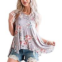 VYNCS Women Casual Floral Print Tank Tops Sleeveless High Neck T Shirt Blouse Tops with Irregular Hem