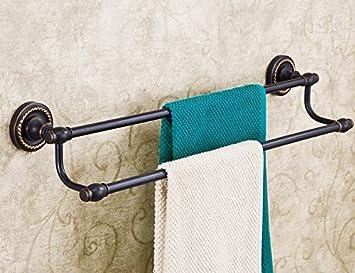 gbhnj toalla bares baño negro cerámica doble barra para colgar piezas B: Amazon.es: Hogar