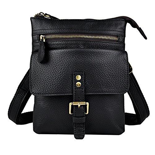 Le'aokuu Mens Genuine Leather Coffee Fanny Small Messenger Shoulder Satchel Waist Bag Pack (Y 6574 Black)