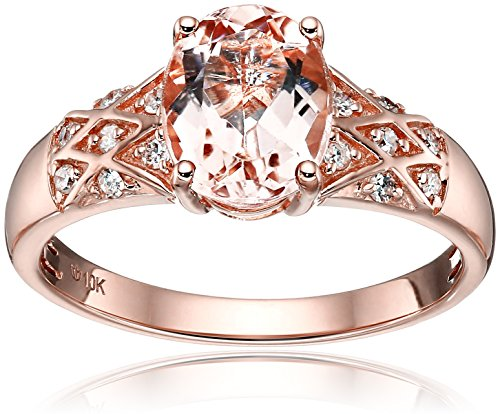 10k Rose Gold Morganite and Diamond Solitaire Engagement Ring (1/8cttw, H-I Color, I1-I2 Clarity), Size 7 (Rose Gold Engagement Ring Settings)