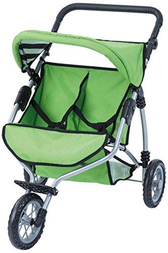 Bayer Design 33927AA Twin Jogger Doll Pram, Green ()