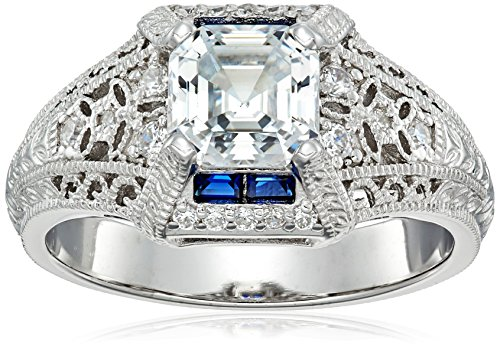 Platinum-Plated Sterling Silver Swarovski Zirconia Antique Asscher-Cut, Baguettes and Created Sapphire Ring size 5