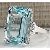 siamsmilethailand 6.35ct Fashion Woman Jewelry Aquamarine 925 Silver Wedding Bridal Ring Size 6-10 (8)