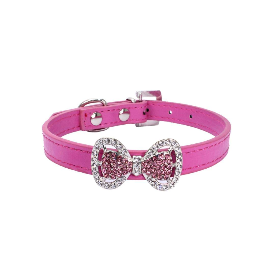 Pet Collars Rhinestones Puppy Cat Collar Bling Bowknot Dogs Female Girl (S/1.5cm37cm, A-2 Hot Pink)