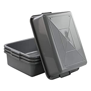 Rinboat 13 Litre Plastic Commercial Bus Tubs Box Tub, Grey, 4 Packs