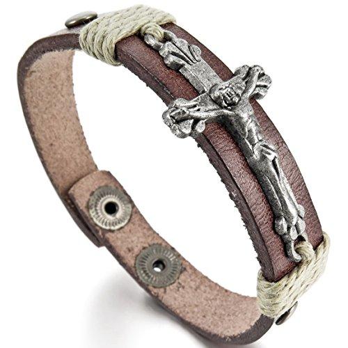 INBLUE Men's Alloy Genuine Leather Bracelet Bangle Jesus Christ Cross Adjustable