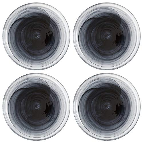 Maxwell Williams 5251585 Marblesque Black Dinner Plate Set with Alabaster Swirl Effect, Handmade Glass, 26 cm (Set of 6)