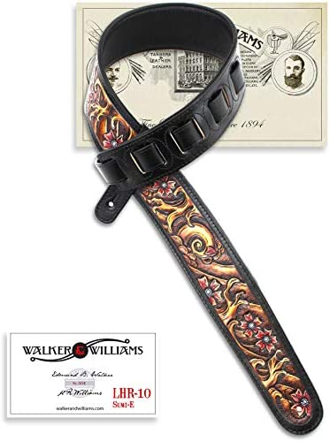 Walker & Williams LHR-10 Chestnut Brown Carving Leather Top With Sumi-E Wave Scene & Cherry Blossoms