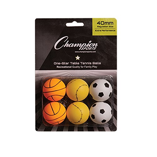Champion Sports 1 Star Table Tennis Ball Pack - Sport Theme Ping Pong Balls, Set of 6, with 40mm Seamless Design - Recreation Table Tennis Equipment, Accessories