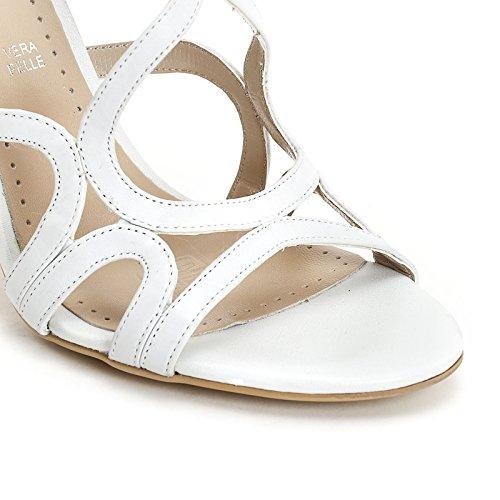 Alesya Scarpe&Scarpe - Sandalen mit Absatz und Riemchen, Leder, mit Absätzen 9 cm - 36,0, Weiss