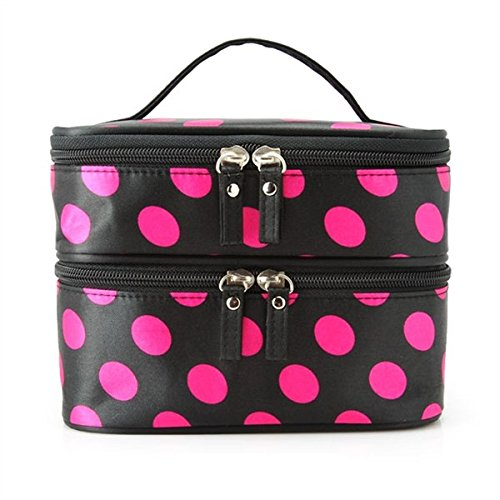 Kalevel Fashion Dots Popular Double Layer Dual Zipper Toiletry Travel Cosmetic Bag Makeup Bag Case Toiletry Bag Handbag Organizer for Women (Black+Rosy) (Double Organizer Zipper)