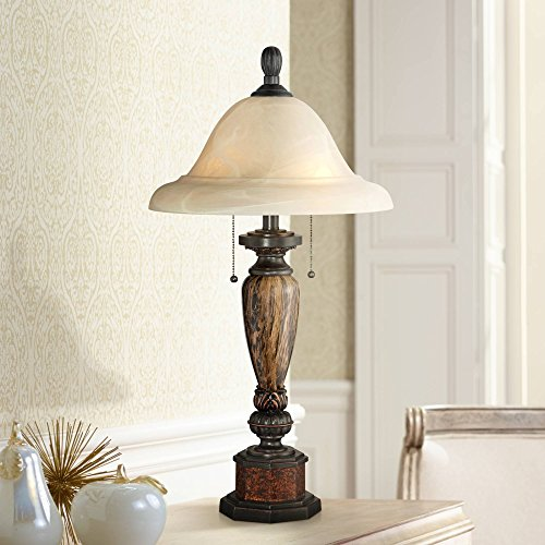 - Kathy Ireland Sonnett Bronze Alabaster Glass Table Lamp