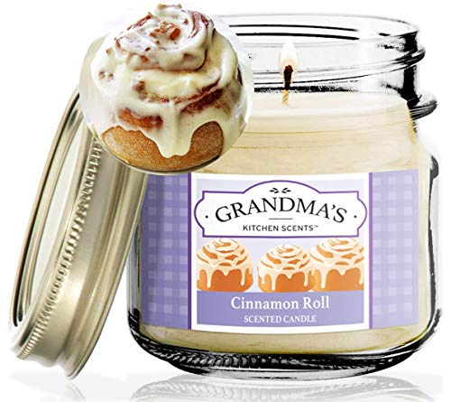 Cinnamon Roll Scented Candles for Home | Non Toxic Long Lasting Soy Candles | Delicious Scent | 8 oz Mason Jar | Hand Made in The USA