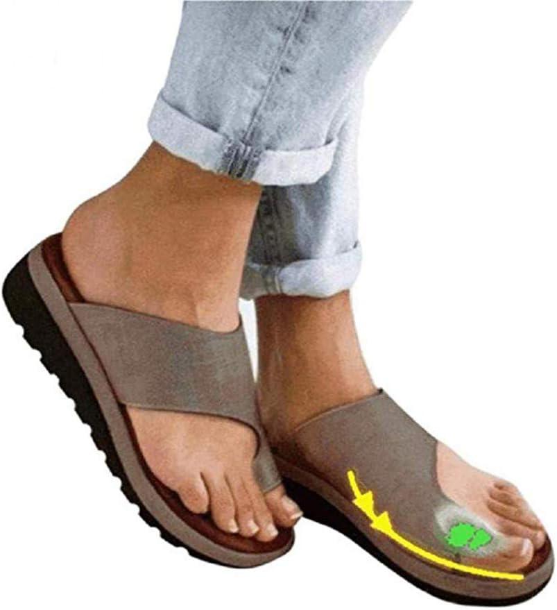 Plataformas Sandalias de Mujer cómodos Plana Cuero de PU Zapatillas Corrector de juanetes ortopédico Casuales Antideslizante Respirable Zapatos ortopédicos Viaje Verano Playa 2019
