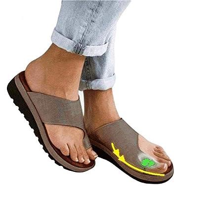 Plataformas Sandalias de Mujer cómodos Plana Cuero de PU Zapatillas Corrector de juanetes ortopédico Casuales Antideslizante