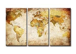 Visario 1166imágenes y Impresiones Artísticas En Lienzo mapamundi Tres piezas, 160x 90cm,