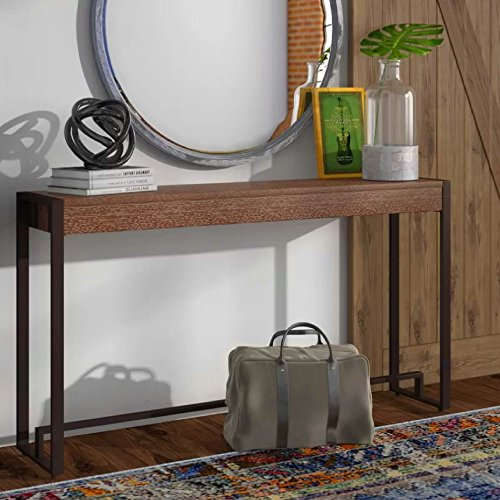 Slim Console Table Hallway Metal Frame Entryway Foyer Accent Entry Console Home Sleek Furniture Transitional Style Unique Contemporary Design Storage Shelf & eBook by BADA shop