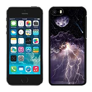 NEW Unique Custom Designed iPhone 5C Phone Case With Moon Asteroids Storm Clouds Lightning_Black Phone Case