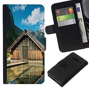 EJOY---La carpeta del tirón la caja de cuero de alta calidad de la PU Caso protector / Samsung Galaxy Core Prime / --Cabinas Lake