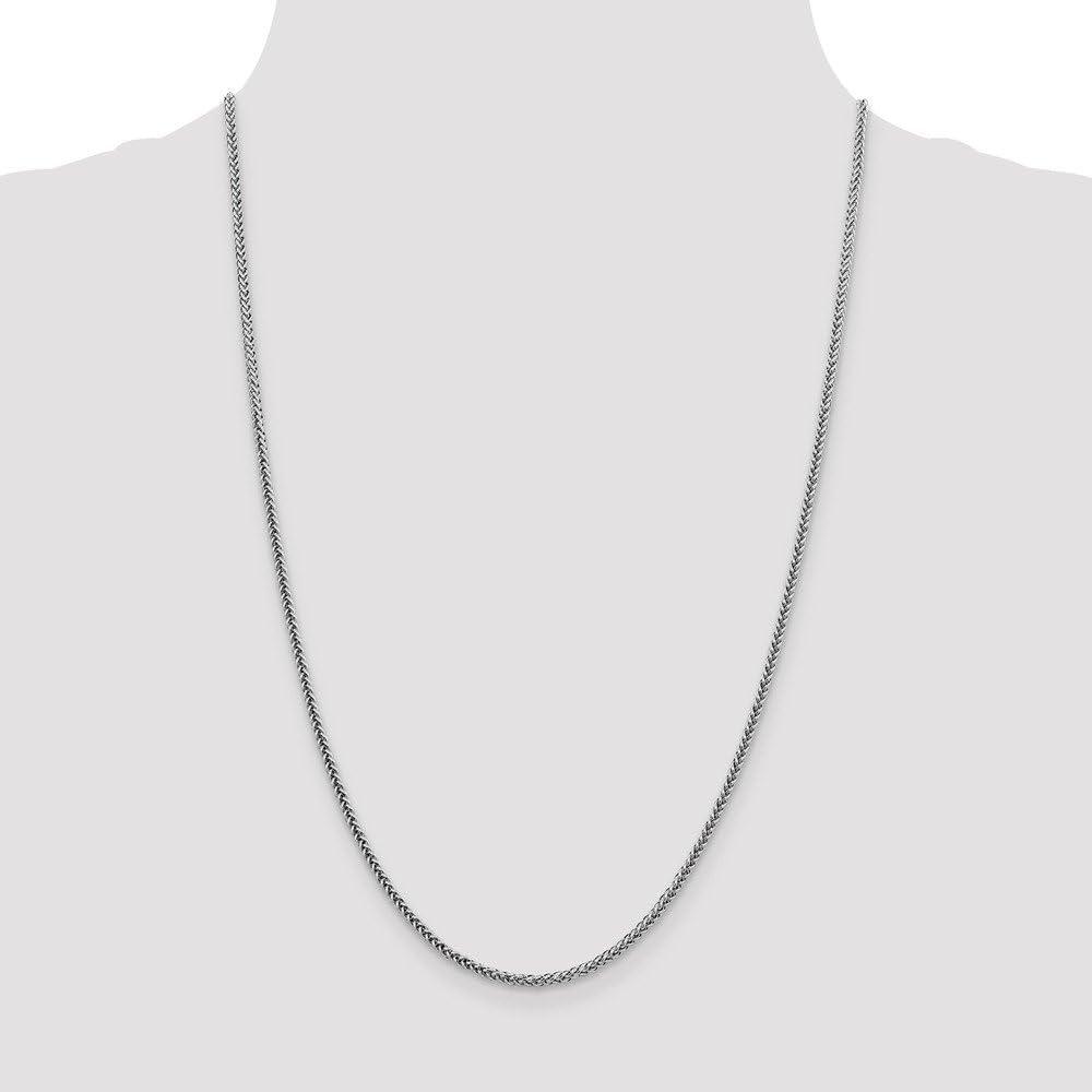 14K White Neckalce 2.35MM 20 INCH Long 14k White Gold 2.35mm Semi-solid 3-Wire Wheat Chain