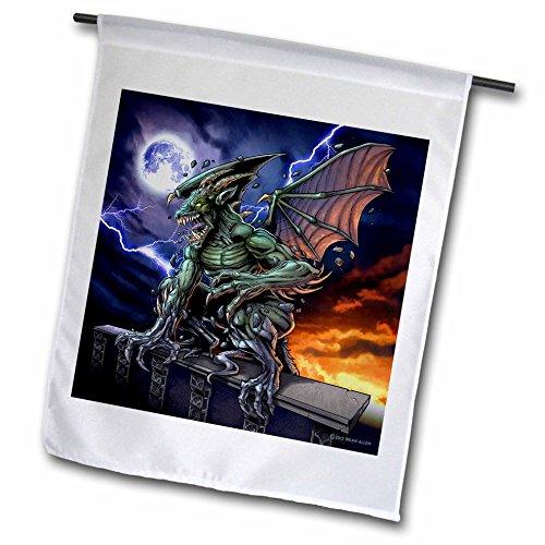 3dRose dark, Gargoyle, Illustration - Gargoyle sitting on a pedestal lighting and the moon - 12 x 18 inch Garden Flag (Gargoyle Lighting)