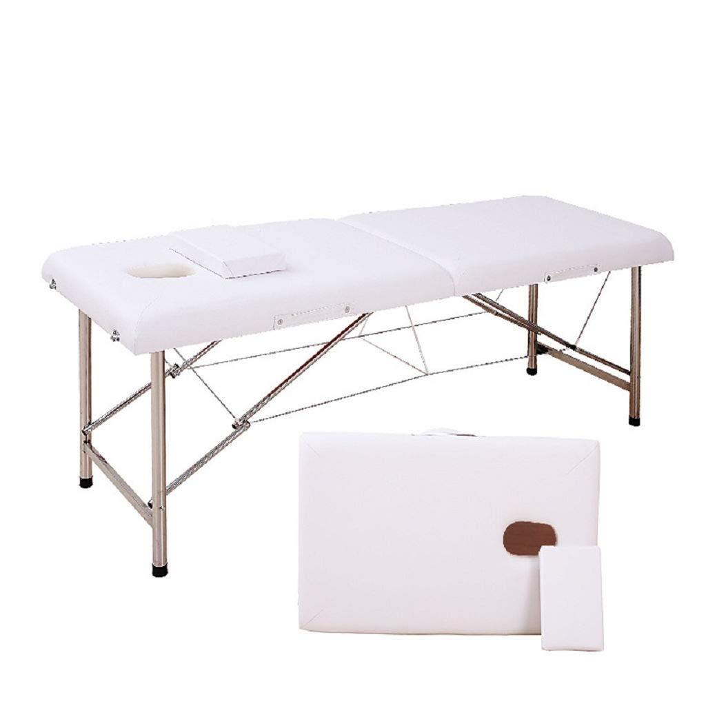 安定している プロ スパ マッサージ テーブル 折りたたみ式 サロン 家具 PU ベッド 太い 美しさ マッサージ 表 B07SMS55LN 白 180*60*65センチメートル