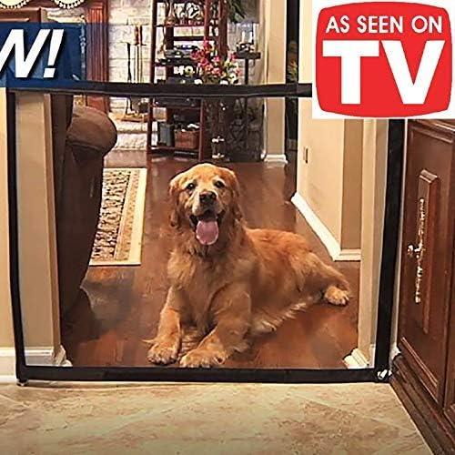 Valla de seguridad para beb/és, recinto de seguridad para mascotas Suukee Puerta m/ágica para perros y mascotas,2018 Dog Gate The Ingenious Mesh Magic Pet Gate Port/átil plegable Caja de seguridad