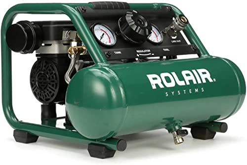 Rolair AB5PLUS 1 Gallon 0.5 HP 90 PSI Ultra Quiet Lightweight Portable Pump Electric Air Compressor