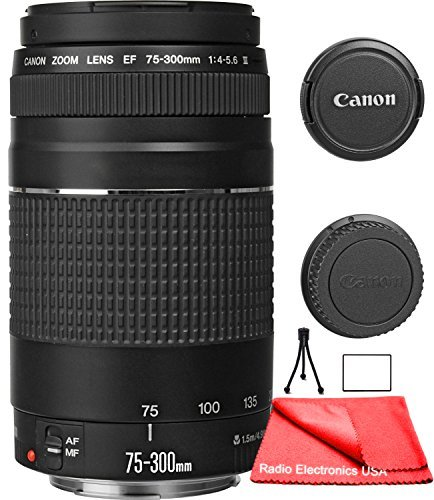 Canon EF 75-300mm f/4-5.6 III Zoom Lens for Canon EOS 7D, 60D, EOS Rebel SL1, T1i, T2i, T3, T3i, T4i, T5i, XS, XSi, XT, XTi Digital SLR Cameras + RADIO ELECTRONICS USA Micro Fiber Cleaning Cloth by RadioElectronicsUSA