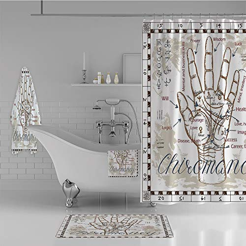 iPrint Bathroom 4 Piece Set Shower Curtain Floor mat Bath Towel 3D Print,Chart with an Human Hand Palm Mystic Science,Fashion Personality Customization adds Color to Your Bathroom.