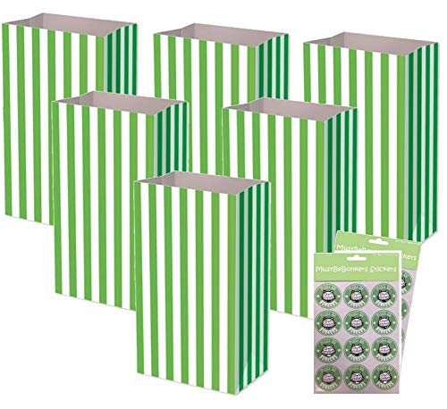 Green Pick and Mix Bags With Sticker Seals – Birthday Party Candy Stripe Large Thick Paper Sweet Bag (1 Bag)