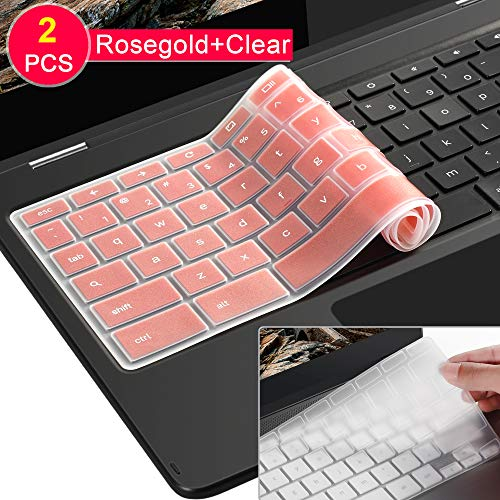 [2 Pack ] Lapogy Keyboard Cover Skin for Samsung Chromebook Plus(12.3 inch)/Samsung Chromebook Pro(12.3 inch),Chromebook Plus XE513C24,Chromebook Pro XE513C24(Clear and GoldRose)