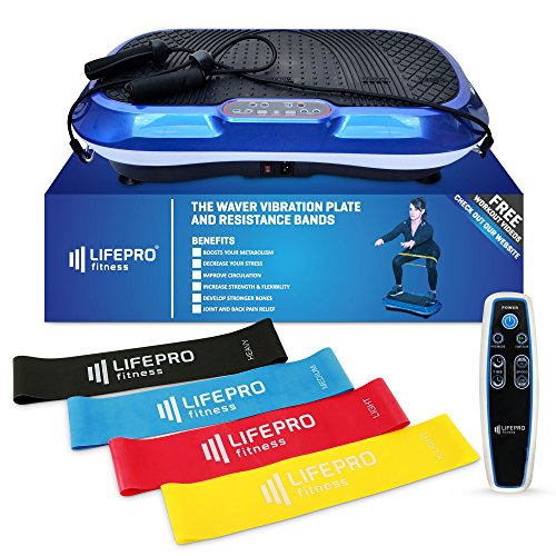 LifePro Vibration Plate Exercise Machine - Whole Body Workout Vibration Fitness Platform w/Loop Bands - Home Training Equipment for Weight Loss & Toning - Remote, Balance Straps, Videos & Manual ()