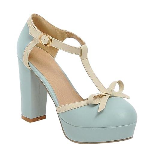 1227f4ee Carol - zapatos de mujer, occidentales, elegante, tacones altos, de  Plataforma, correa en T, tipo sandalia: Amazon.es: Zapatos y complementos