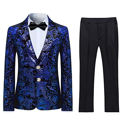 Boyland Boys Jacquard Suit Slim Fit Tuxedo Suits Jacquard Notch Lapel Tux Jacket Pants Party Formal Wear Blue