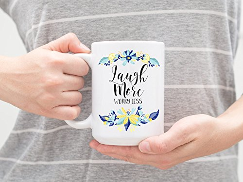 Laugh more worry less 11 oz ceramic coffee mug life lessons 15 oz mug inspirational quotes novelty gift delicate pretty floral gift (Mouse First Halloween Lesson)