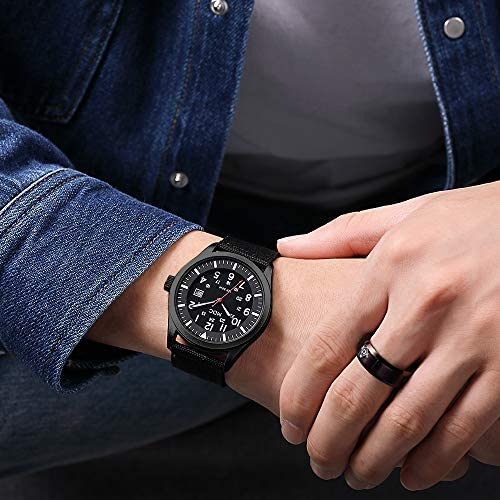 Black Military Analog Wrist Watch for Men, Mens Army Field Tactical Sport Watches Work Watch, Waterproof Outdoor Casual Quartz Wristwatch - Imported Japanese Movement, 5ATM Waterproof