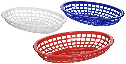 Tablecraft BBQ1074RWB 6 Piece Classic Oval Plastic Baskets, - Baskets Bread Blue