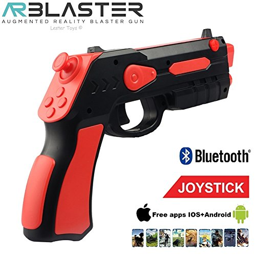 AR BLASTER Augmented Reality 360 VR Portable Gaming Gun: Wireless Bluetooth Controller Toy Pistol for iOS iPhone and Android Smartphone | FREE App 35+ Games Action & Lerning, w/ Joystick (RED)