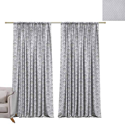 - berrly Grommet Blackout Curtains Geometric,East Cultures Inspired Circles with Floral Arrangement Traditional Motifs, Grey Silver Beige W72 x L96 Art Drapery Panels