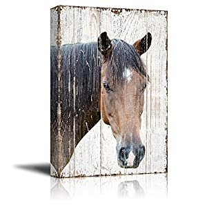 wall26 – Canvas Print Wall Art – Head of a Horse on Rustic Style Wood Background – Gallery Wrap Modern Home Decor | Ready to Hang – 12×18 inches