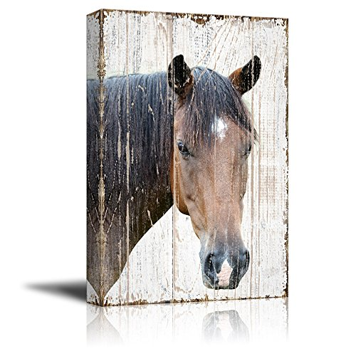 Print Head of a Horse on Rustic Style Wood Background