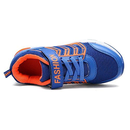 GESIMEI Niño Velcro Zapatillas Aire Libre y Deporte Ligero Zapatos Para Correr Respirable Malla Zapatos Casuales Azul