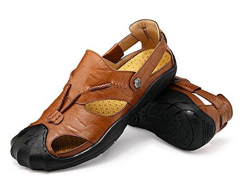 Skidproof Mobnau Closed Toe Sandals Khaki Casual Mens Mobnau Mens Closed Leather A0UqUO