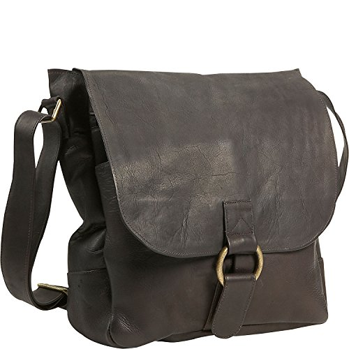 David King Leather Vertical Laptop Messenger Bag in Cafe David King Leather Bag