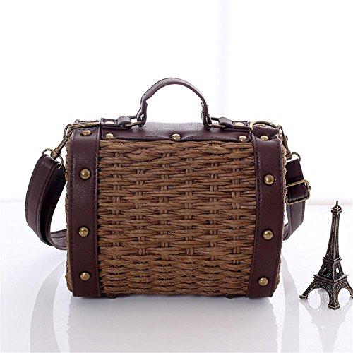Retro Crossbody Bag, Cherry-Lee Shoulder Handbags Rattan Woven Bag Beach Crossbody Bag Handmade Storage Bag Totes for Kids,Toddler,Girls