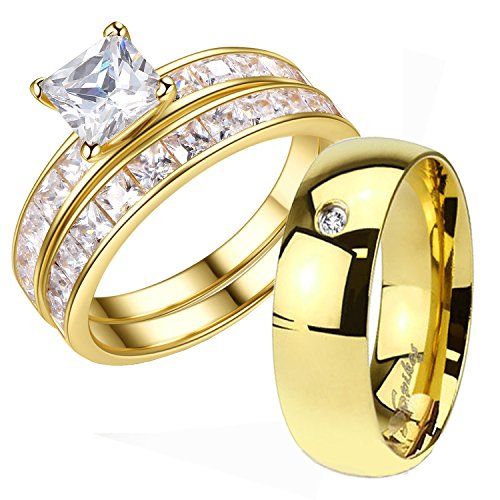 His and Hers 3 Pcs Gold Plated Men's CZ Band Women's 1.25ct Princess Cut Sterling Silver Wedding Ring Set - Wedding Rings For Bride And Groom