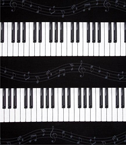 RSH Decor Premium 2'' Thick Foam Cushion for Piano Bench - 30'' X 14'' - Black and White Piano Key Music Note Stripe by RSH Decor (Image #3)