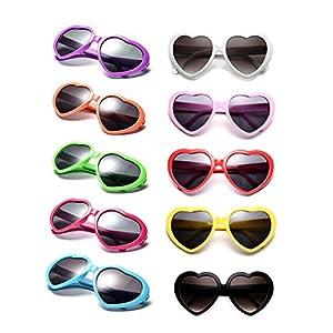 10 Packs Neon Colors Wholesale Heart Sunglasses (Mix)